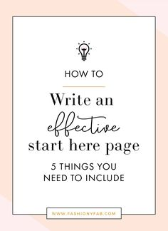 How to Write an Effective Start Here Page