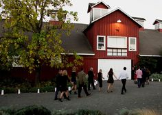 Guests file into the Red Barn for Frogtoberfest dinner.