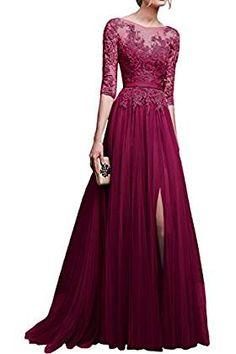rosa damen langarm spitze maxikleid lange abendkleid elegante brautjungfern kleider g nstig. Black Bedroom Furniture Sets. Home Design Ideas