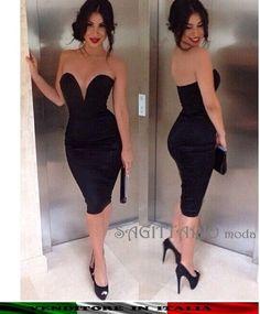 d13af397b24d Mini abito scollo cuore nero vintage vestito attillato sexy elegante sera  festa
