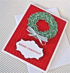 Merry Christmas card wreath silver red by QuirkynBerkeleyCards, $7.00