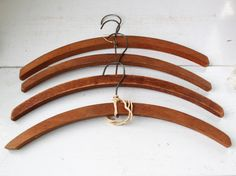 vintage 1920s wood hangers. 4 antique thick wooden hangers / rustic clothes hangers / 20s rustic hangers / antique home decor