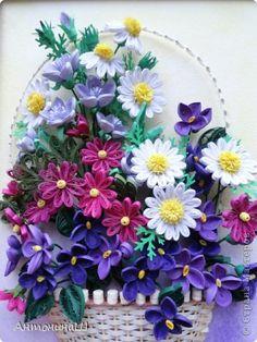 Картина панно рисунок Квиллинг Флоксы и корзина с цветами Бумага фото 8