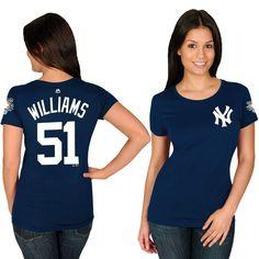 Bernie Williams New York Yankees Majestic Women's Name & Number T-Shirt - Navy