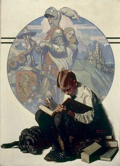 """Boy Reading Adventure Story, Norman Rockwell 1923 "" This painting is part of the George Lucas Collection. Norman Rockwell's work had a profound influence on Steven Spielberg and George Lucas,. Peintures Norman Rockwell, Norman Rockwell Art, Norman Rockwell Paintings, Art And Illustration, Illustrations, Reading Adventure, Inspiration Art, Oeuvre D'art, American Artists"