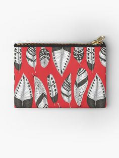 Black and white feathers pattern Studio Pouch #redbubble #pouch #feathers #pattern #katerinakart
