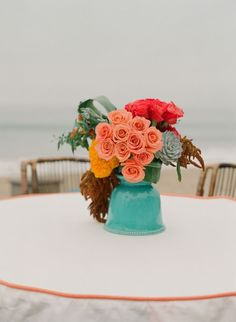 Coral and teal #roses