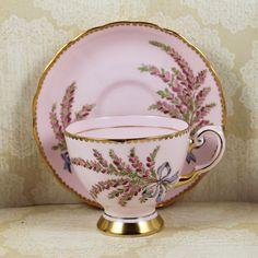 Vintage Blush Pink Floral Swags Gold Tuscan English Bone China Tea Cup