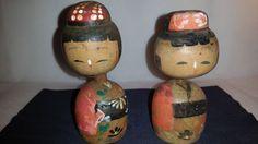 Vintage JAPANESE Wooden KOKESHI Bobble Head Dolls ~ Antique Kokeshi