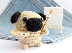 Mini Pug cachorro Pintor por Owlystore en Etsy