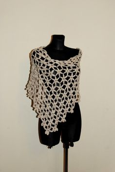 Ecru Summer Poncho, Beige Crochet Poncho, Women's Poncho, Flower Motif Crochet Poncho, by aboutCRAFTS on Etsy