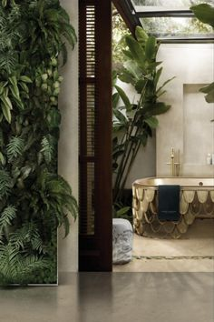 Well, what better way to remodel your bathroom than with a fantastic natural area filled with bright and incredible greens in the private oasis? Shower Taps, Ral Colours, Match Making, Modern Bathroom Design, Modern Room, Bathroom Furniture, Home Textile, Gold Accents, Interior