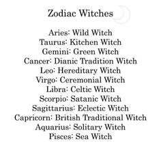 Zodiac Signs as Witches: Aries: Wild Witch-Most Wild Witches use natural tools for divination such as water and crystals rather than Tarot Cards or other modern tools. Knowledge is usually passed down within families. Taurus: Kitchen Witch- Practices at h Astrology And Horoscopes, Astrology Zodiac, Pisces Horoscope, Witches Facts, Folk Religion, Witch Drawing, Witch Coven, Traditional Witchcraft, Sea Witch