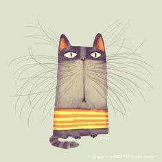 This man's illustrations are simply amazing! Found him through StumbleUpon. the cats whiskers funny art illustration print Art And Illustration, Cat Illustrations, Cat Drawing, Crazy Cats, Cat Art, Cute Cats, Funny Cats, Cats And Kittens, Illustrators