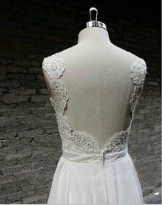 Backless Wedding Dress, Sexy Wedding Dress, Lace Chiffon Wedding Bridal Dress with Waistband on Etsy, 1976:14kr