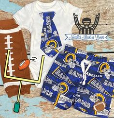 Boys Los Angeles Rams Outfit, Baby Boys Football Outfit, Game Day – Needles Knots n Bows