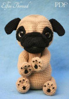 338a0798bb9 Elfin Thread Queency The Pug Puppy Amigurumi PDF Pattern