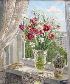 Pencil Painting, Oil Painting Flowers, Flower Vases, Flower Art, Through The Window, Window Sill, Western Art, New Artists, House Painting