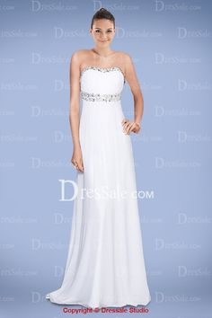 Gentle Strapless White Prom Gown with Pleated Bodice and Crystals, Quality Unique Prom Dresses - Dressale.com