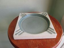 Hyalyn Vintage Large Pottery Ashtray Good For Cigars Blue/Off white Art Deco