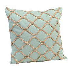 Teal Jute Lattice Pillow