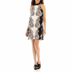 Bisou Bisou® Halter Trapeze Dress with Contrast Collar - JCPenney