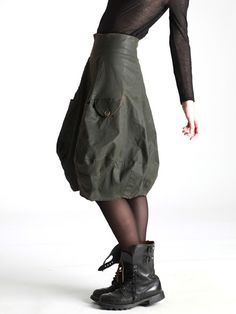 BALLOON SKIRT MADE OF THICK COTTON WITH LYCRA AND RESIN COATING - JACKETS, JUMPSUITS, DRESSES, TROUSERS, SKIRTS, JERSEY, KNITWEAR, ACCESORIE...