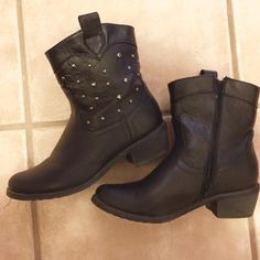 Studded ankle boots Faux leather, always worn with socks, comfy, worn only a few times Shoes Ankle Boots & Booties