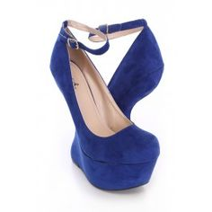 Royal Blue Anti-Gravity Wedges Faux Suede