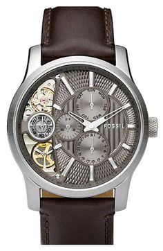 Fossil 'Twist' Leather Strap Watch | Nordstrom