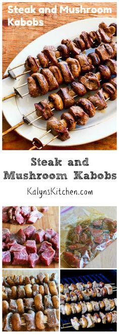 Steak and Mushroom Kabobs are perfect for Father's Day or any summer holiday where you're grilling, and these kabobs are #LowCarb #GlutenFree and #CanBePaleo. [from KalynsKitchen.com]