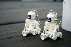 Halloween Skeleton Earrings - Just in Time for Halloween - Spooky Gift to Wear to Parties, made from LEGO® minifigures by LettersByLilly on Etsy