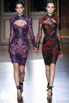 Put a peter pan collar on the purple shurg, make it green.............. Asian inspired dresses - Zuhair Murad Fall 2012