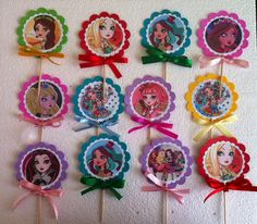 12 Ever After High favor / party tags OR cupcake toppers