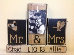 Personalized wedding gift Mr and Mrs black shabby chic burlap heart home decor Christmas gift with personalized picture names and wedding. $25.00, via Etsy.