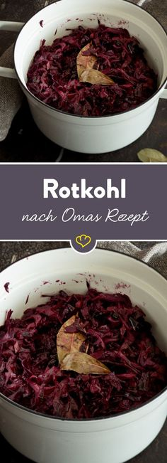 Rotkohl nach Omas Rezept Grandma is simply the best – especially when it comes to classics like homemade, spicy red cabbage. Whoever reaches for the glass is to blame. Good Food, Yummy Food, Xmas Food, Red Cabbage, I Foods, Food Inspiration, Carne, The Best, Food Porn
