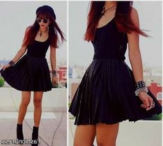 Cool skater dress with boots 2017-2018