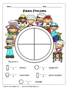 Pizzas are a great real-world connection to help students learn about fractions. With this activity students create their own