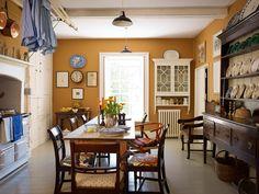 beachbungalow8; architect Ben Pentreath. Love the wall color; looks like butternut squash