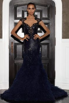 Lorena Sarbu 2015 Resort Collection - navy black fully embroidered illusion cap sleeve gown with textured tulle fishtail skirt Tie Dress, Dress Up, Cap Sleeve Gown, Fashion D, Glamorous Dresses, Glamour, Designer Gowns, Couture Dresses, Beautiful Gowns