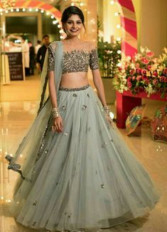 Two Piece Prom Dresses Scoop Floor-length A-line Tulle Sparkly Long Prom Dress - Designer Dresses Couture Indian Designer Outfits, Designer Dresses, Indian Designers, Lehnga Dress, Lengha Choli, Indian Lehenga, Lehenga Designs, Indian Wedding Outfits, Wedding Attire