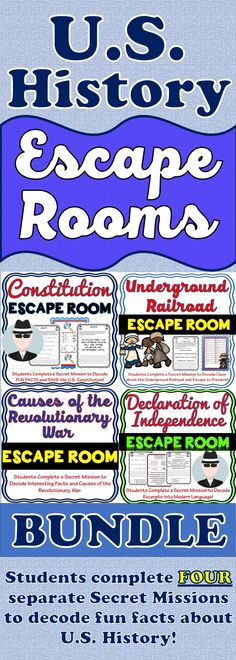 The Escape Rooms will take students on FOUR separate secret missions around the classroom! The escape rooms have students decode facts and causes of the Declaration of Independence, the U.S. Constitution, Causes of the Revolutionary War and the Underground Railroad. Fun U.S. History Activities!