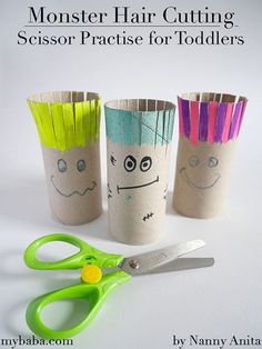 This monster hair cutting activity is to help promote scissor skills in toddlers and pre-schoolers. Cutting Activities For Kids, Nanny Activities, Eyfs Activities, Nursery Activities, Infant Activities, Crafts For Kids, Toddler Girl Style, Toddler Hair, Toddler Fashion