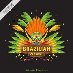Brazil carnival background with feather ornaments Free Vector