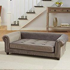 Enchanted Home Pet Manchester Velvet Tufted Dog Sofa Bed In Grey