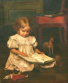 Emil Brack (1860-1905) - Girl Reading