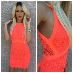 •Astr pink crochet body-con dress• A sleeveless body-con dress features a crochet overlay framed with woven bands at the bodice and finished with a feminine scalloped hemline. Back zip closure. Partially lined. 100% polyester. Color is neon pink. Closest to first picture. Astr Dresses Mini