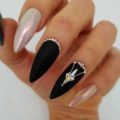 Nails Metallic, Nail Design Glitter, Black Nails, Pink Nails, Glitter Art, Short Nail Designs, Simple Nail Designs, Nail Art Designs, Summer Stiletto Nails