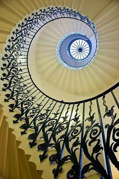 The Tulip Staircase in the Queen's House, Greenwich, England. I went to the Queens house in February 2014 & saw this beautiful staircase :-) Detail Architecture, Beautiful Architecture, Beautiful Buildings, Art And Architecture, Interior Exterior, Interior Design, Stairway To Heaven, Staircase Design, Grand Staircase