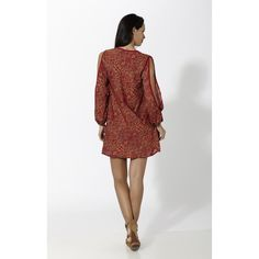 Vestido corto estampado con abertura en mangas Rojo - Mauna Barcelona - fashion - moda
